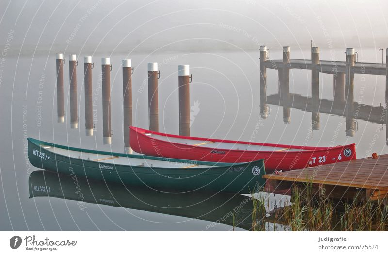 Two boats II Fischland-Darss-Zingst Lake Prerow Mooring post Watercraft Morning Fog Footbridge Drop anchor Red Green Wood Reflection Calm Loneliness 2