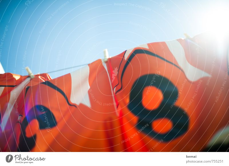 Freshly washed for the World Cup Sports Sky Cloudless sky Summer Beautiful weather Warmth Clothing T-shirt Jersey Soccer jersey Clean Blue Orange Clothesline