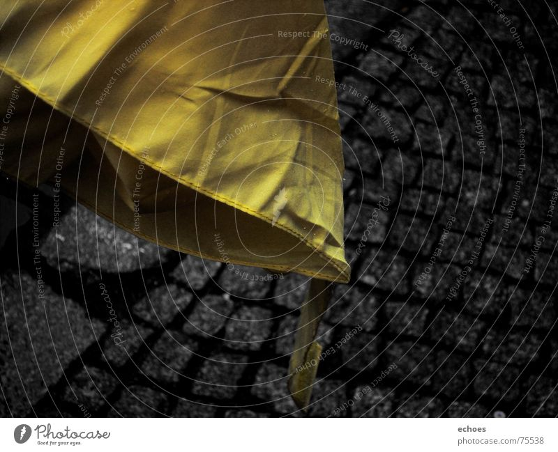 Black Yellow Street Colour Dark Cold Autumn Stone Sadness Rain Bright Wet Umbrella Border Wrinkles Sidewalk