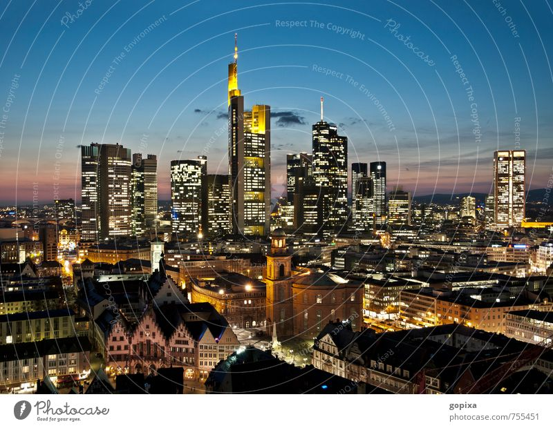 Skyline of Frankfurt in the evening City trip House (Residential Structure) Economy Financial Industry Financial institution Business Architecture Germany