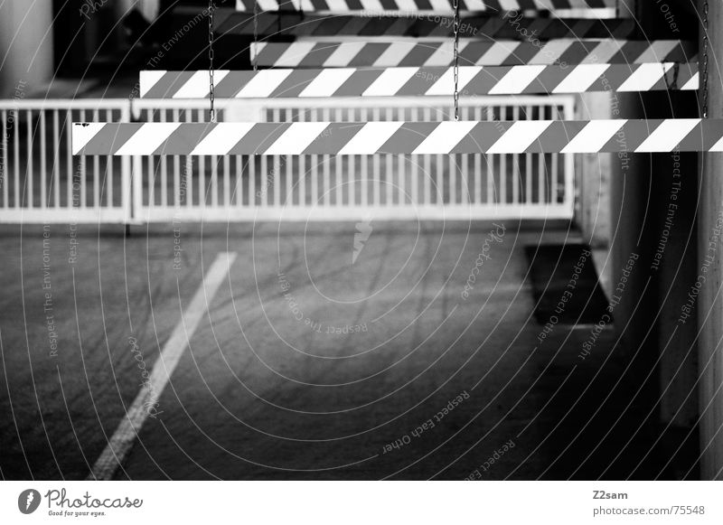caution barriers Highway ramp (entrance) Tracks Barrier Factory Underground garage Industrial Photography Transport Control barrier Respect Handrail