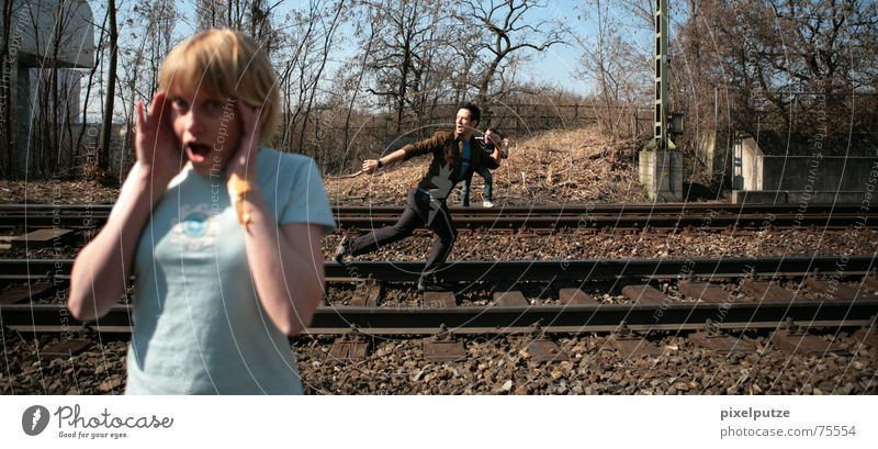 Woman Fear Walking Transport 3 Railroad Running Dangerous Threat Scream Railroad tracks Facial expression Accident Gesture Project Hitchhiker
