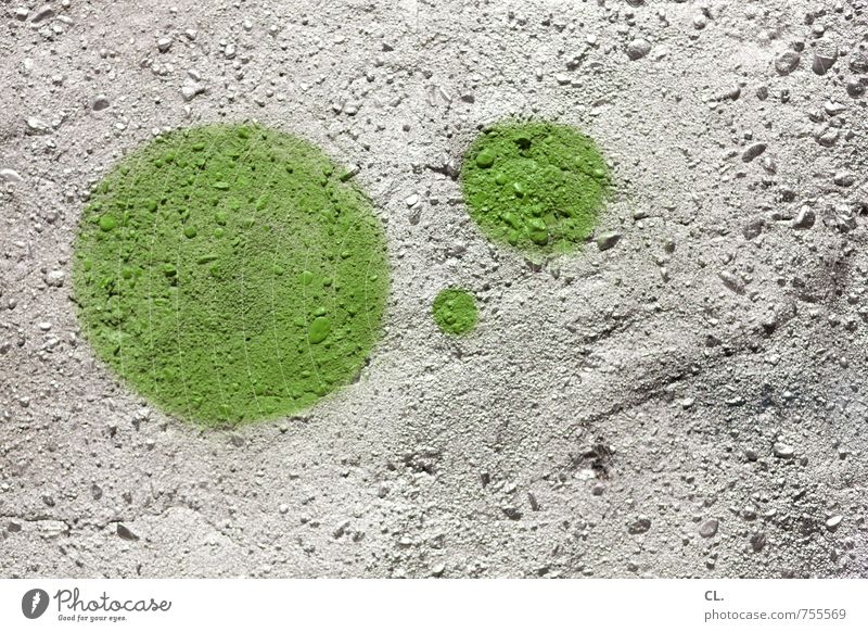 Green dots Wall (barrier) Wall (building) Stone Graffiti Round Town Silver Colour Inspiration Creativity Circle 3 Colour photo Exterior shot Abstract