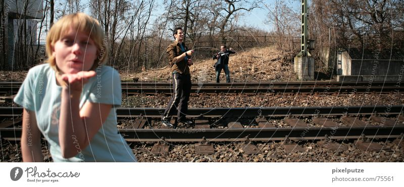 railwaysession #3 Transport Railroad tracks Scream Gesture Facial expression Woman Hitchhiker Project Balance Stick Acrobatics Kissing Blow railway line lynn