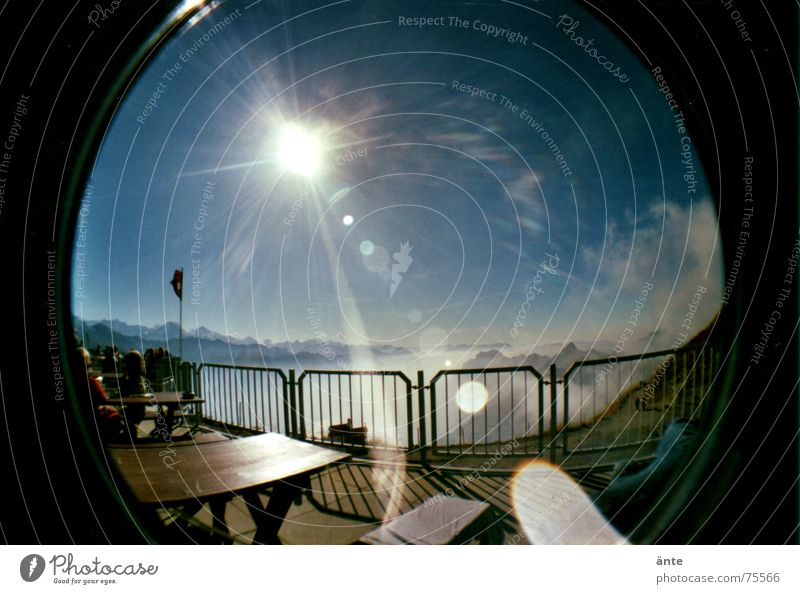 blink into the sun Footpath Escape Distorted Table Mountain restaurant Sea of fog Brienzer Rothorn Fog Hiking Dazzle Leisure and hobbies Switch off Bench Break