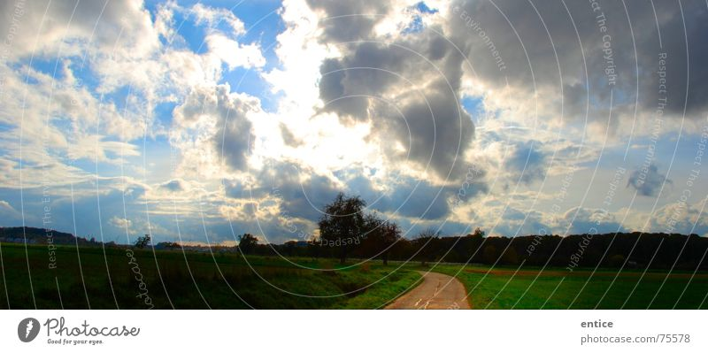 heavenly way Clouds Field Back-light Germany Exterior shot Sky Bright Lanes & trails Nature Freedom