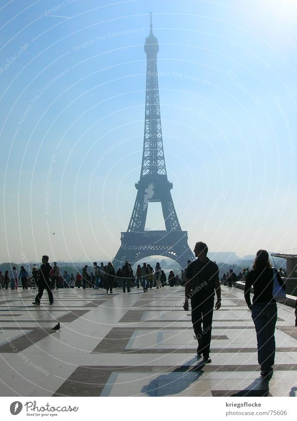 Human being Beautiful Blue Sign Paris France Manmade structures Symbols and metaphors Tourist Capital city Famousness Exhibition World exposition