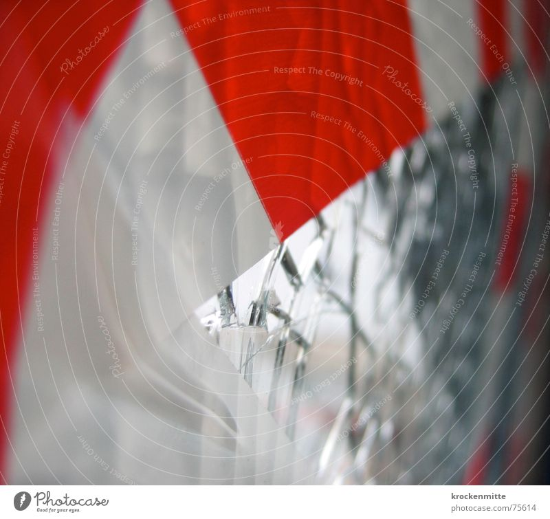 Caution Glass Splinter Adhesive tape Red White Shard Annihilate Slivered Broken To break (something) Surface Vandalism Barrier Stick Attachment