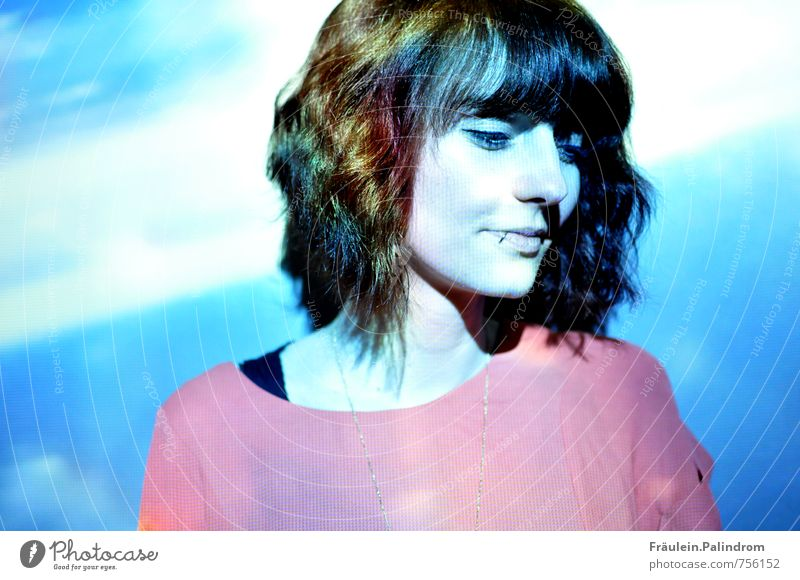 rainbow. Feminine Young woman Youth (Young adults) 1 Human being 18 - 30 years Adults Piercing Hair and hairstyles Brunette Short-haired Bangs Smiling