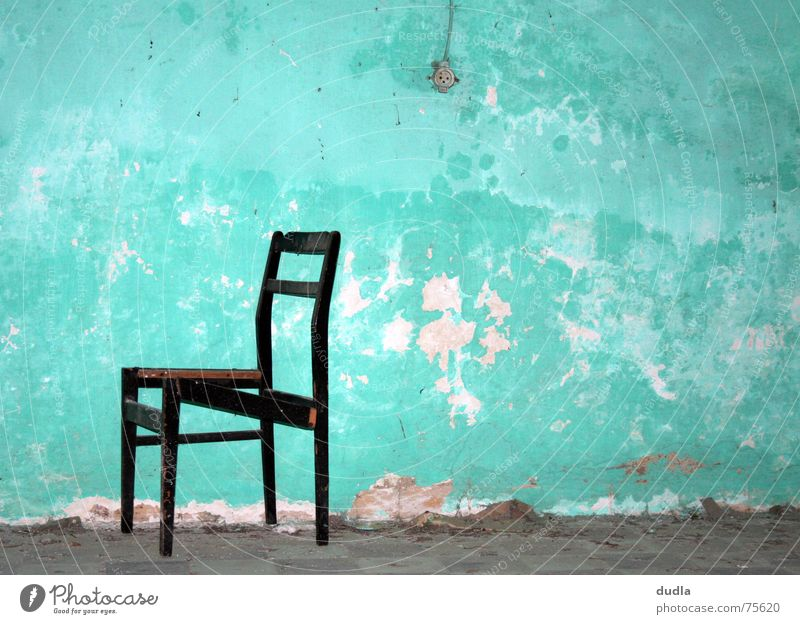 seating Broken Wall (building) Wall (barrier) Decline Socket Green Turquoise Room Cold Empty Loneliness Forget Comfortless Chair Old Sit