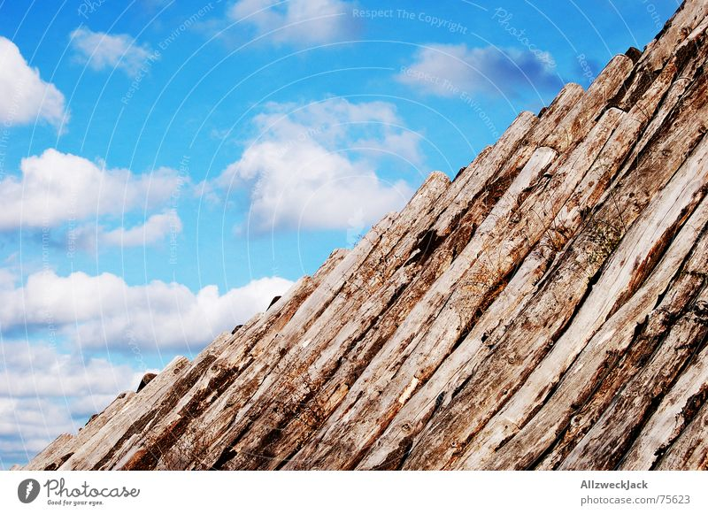 Sky White Blue Clouds Wood Wooden board Diagonal Cumulus
