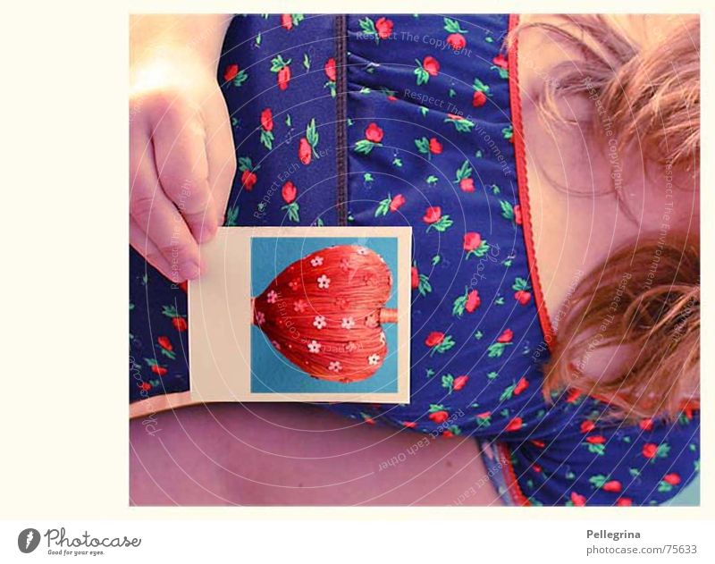 Woman Flower Love Emotions Think Heart Lovesickness Self portrait Polaroid
