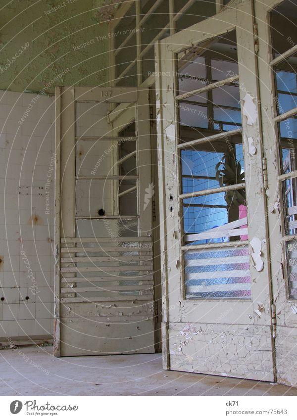 health reform White Pink Sanitarium Grief Interior shot Door Old Destruction Tile Blue Germany alr