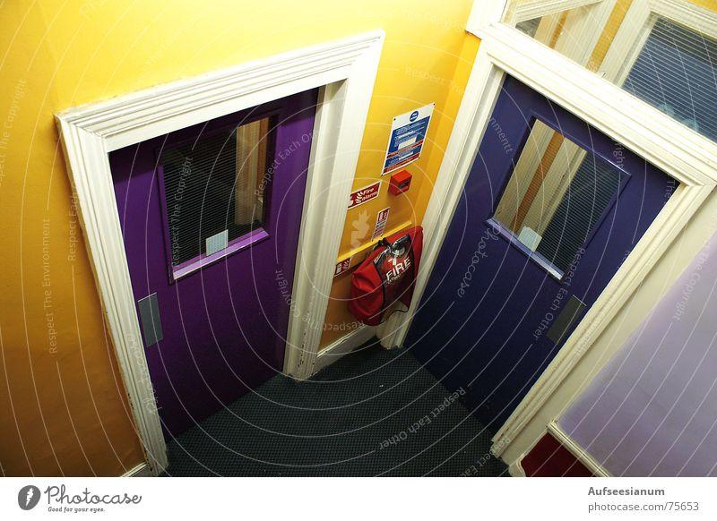 Which way?! Hallway Hostel Hotel England Multicoloured Extinguisher Alarm Door Colour Sadness