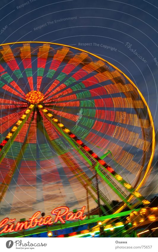 We're going round in circles... Part 2 Ferris wheel Fairs & Carnivals Round Tracer path Twilight Theme-park rides Carousel Circle Movement Light Dusk