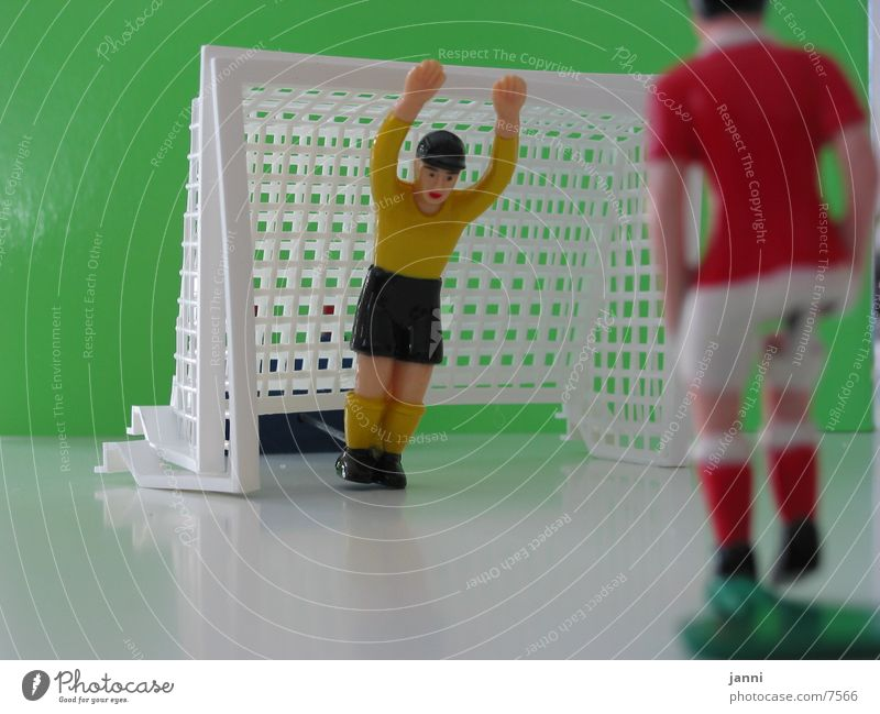 table football Sports Table soccer Goalkeeper Plastic figurine Piece Depth of field Macro (Extreme close-up) Hands up! 2 Colour photo