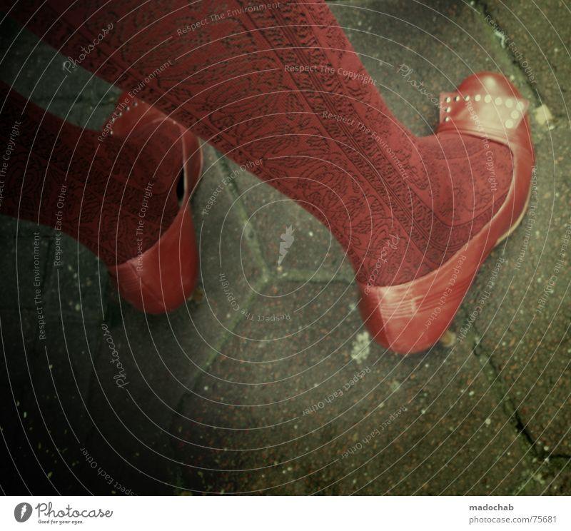 Woman Human being Red Feminine Stockings Feet Footwear Floor covering Trashy Tights High heels