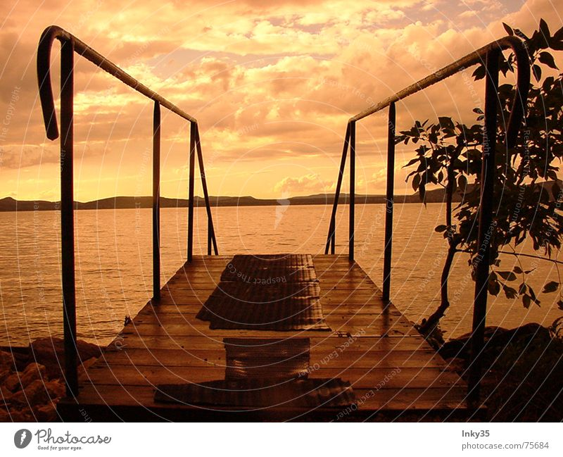*ONE AND TWO * Ocean Romance Loneliness Tree Clouds Reflection Vacation & Travel Sky red hour Stairs Water Mountain Nature Handrail Partner