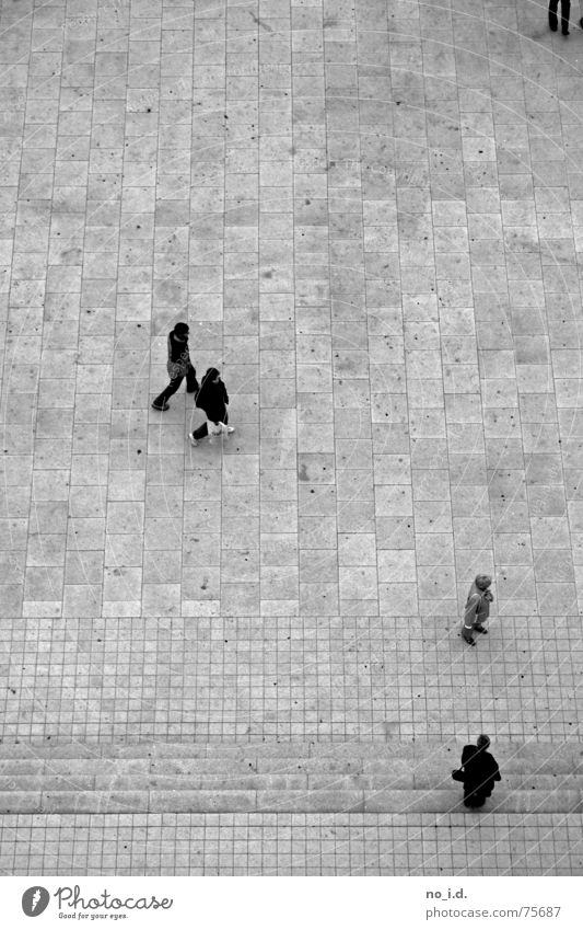 Above the heads of ... Bird's-eye view Stone slab Cold Black White Exterior shot Small Tall Stairs Human being