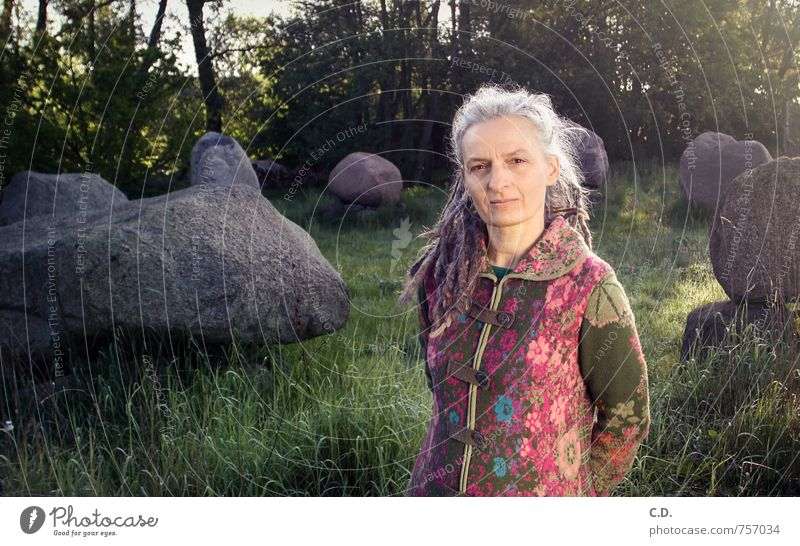 Mrs. Jung Woman Adults Female senior 45 - 60 years Coat Gray-haired Long-haired Stone Authentic Green Pink Wisdom Smart Stone circle Granite Dreadlocks Iconic