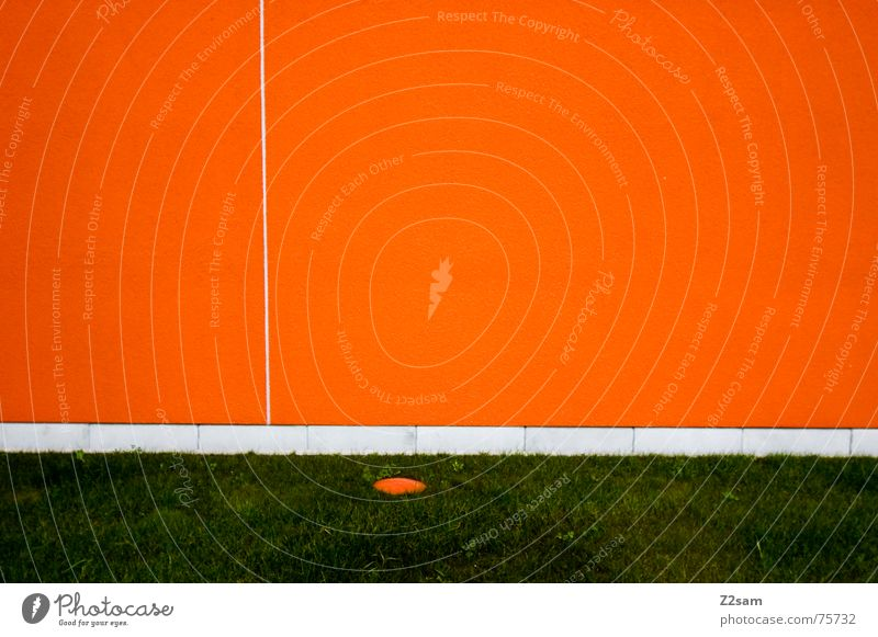 minimum Wall (building) Abstract Minimal Geometry Line Meadow Grass Green Orange Reduce Simple Structures and shapes Circle Point Divide