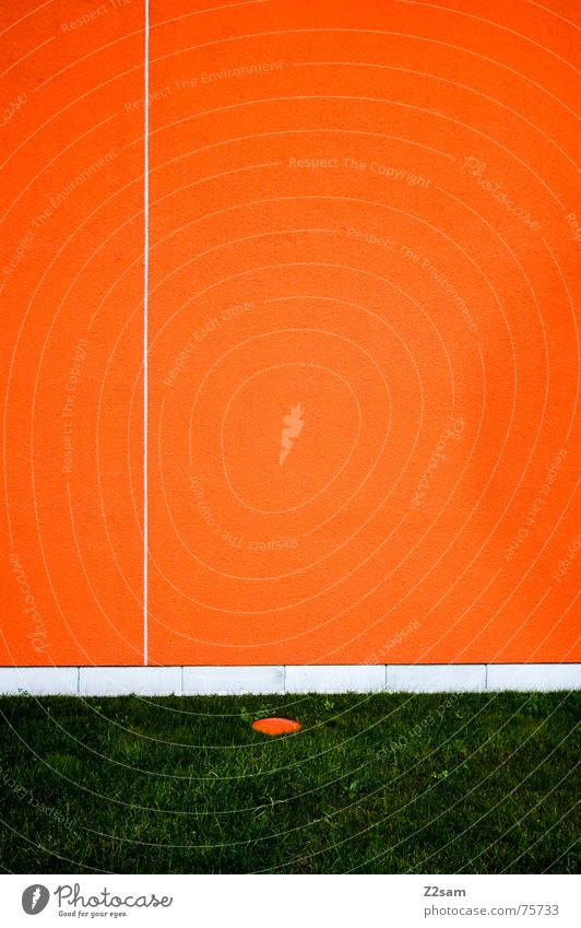 minimal II Wall (building) Abstract Minimal Geometry Line Meadow Grass Green Orange Reduce Simple Structures and shapes Circle Point Divide