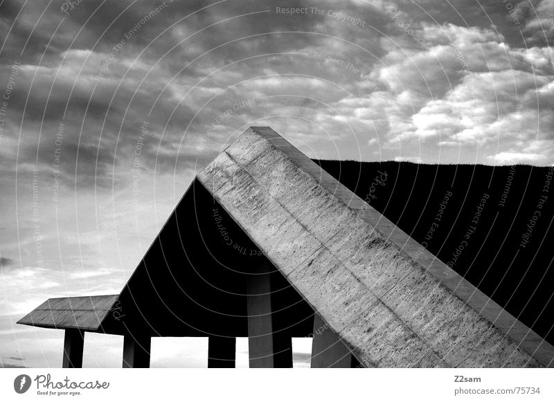 Up and down sw Sky Clouds Manmade structures Meadow Green Abstract Grass architecture blue Construction site geometry Pole Perspective Black & white photo