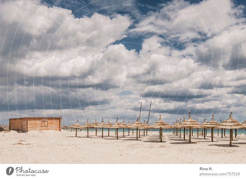 Sky Vacation & Travel Sun Ocean Relaxation Clouds Beach Spring Tourism Beautiful weather Summer vacation Sunshade Dramatic Wooden hut Off-Season