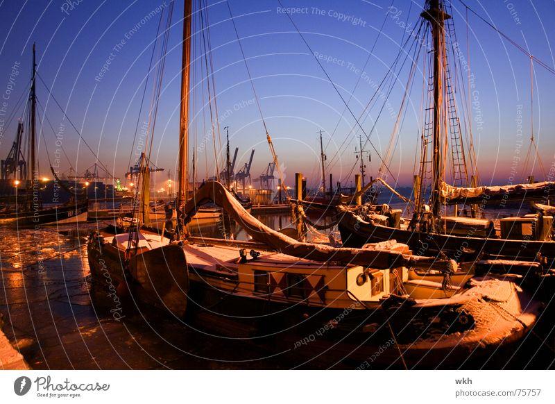 Museum harbour Övelgönne Port City Dusk Winter Sailboat övelgönne Hamburg Elbe