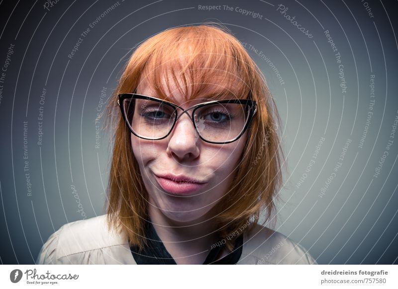 duckface Human being Feminine Woman Adults Face 1 Eyeglasses Hair and hairstyles Red-haired Long-haired Think Looking Dream Cool (slang) Eroticism Brash