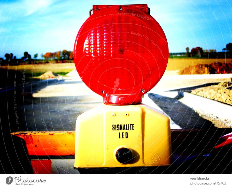 Red Joy Colour Lamp Bright Lighting Germany Energy industry Transport Dangerous Construction site Threat Lomography Warning label Fantasy literature Road traffic