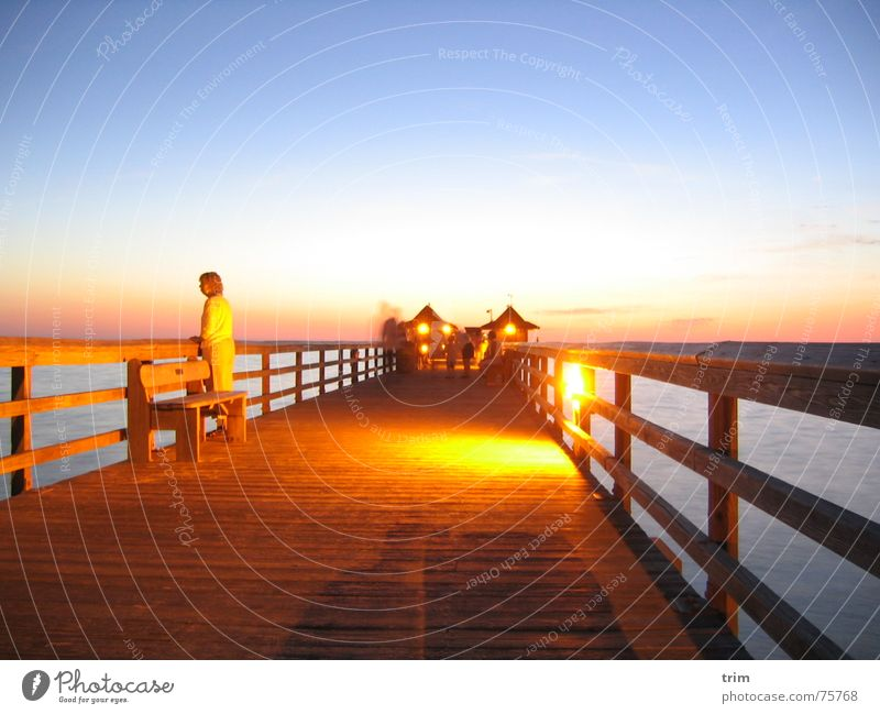 Evening at the pier Jetty Wood Ocean Woman Think Dusk Romance Footbridge Relaxation Calm Contentment Exterior shot Long exposure Sky Clarity find oneself