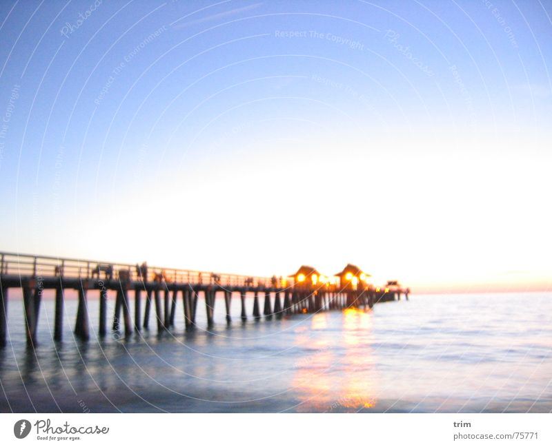 sea view Jetty Ocean Exterior shot Long exposure Enliven Evening Water Calm Light Bright