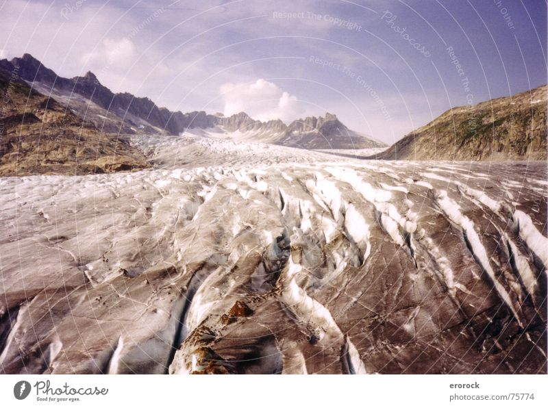 Summer Cold Mountain Ice Hiking Switzerland Alps Analog Glacier Rhone