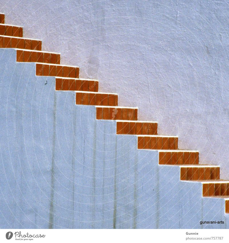 upward House (Residential Structure) Wall (barrier) Wall (building) Stairs Stone Tall Determination Colour photo Exterior shot Structures and shapes Deserted