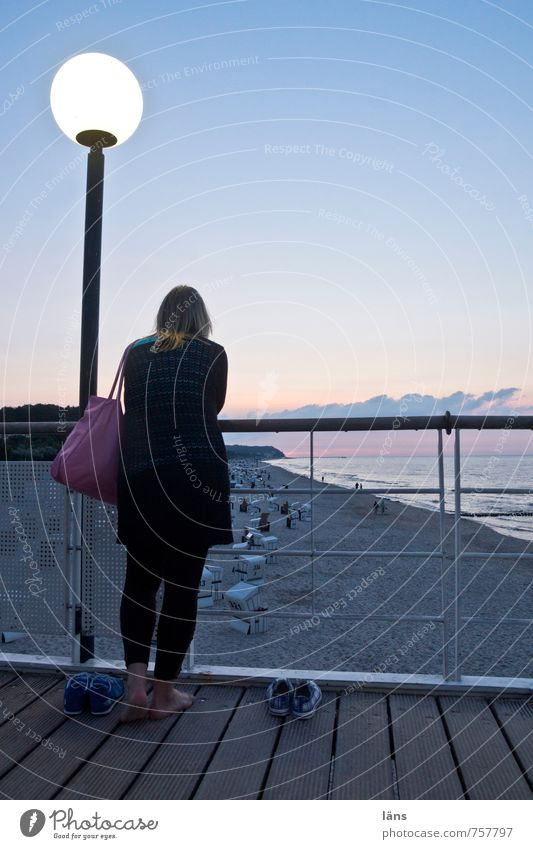 Human being Woman Sky Nature Summer Landscape Beach Adults Environment Feminine Moody Island Observe Lantern Baltic Sea Longing