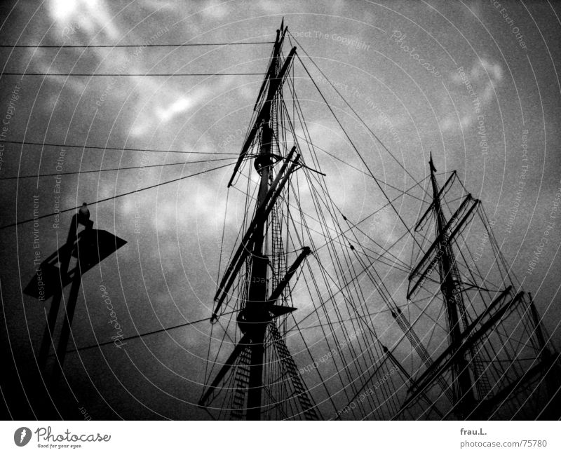 rig Rickmer Rickmers Cruise Watercraft Clouds Sailing ship Landmark Navigation Maritime Rope Leisure and hobbies Jetty histroric seagull museum ship ship's mast
