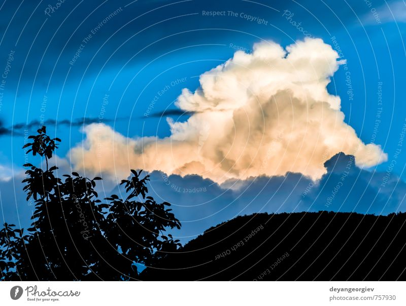 Dramatic clouds and deep blue sky Beautiful Summer Nature Air Sky Clouds Horizon Climate Weather Storm Dark Bright Blue White Moody background Deep water Heaven
