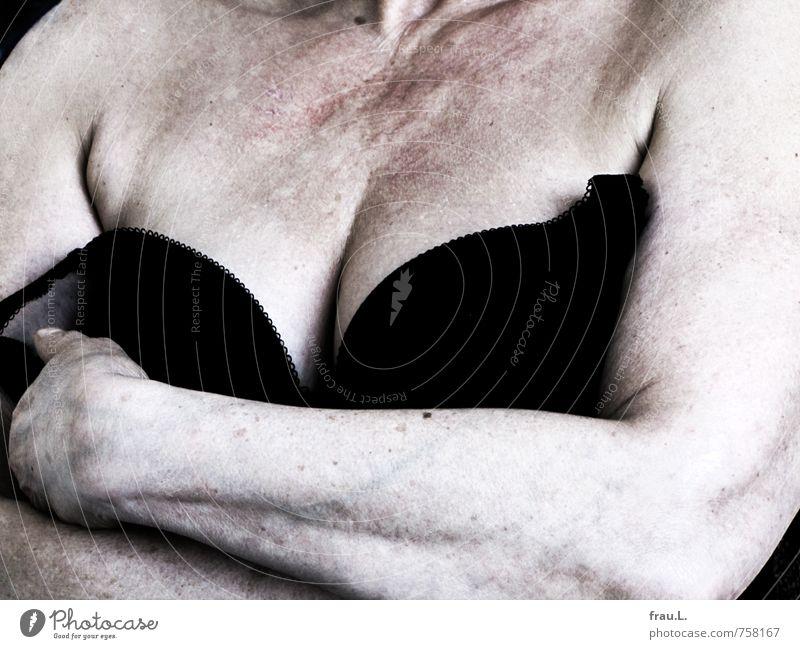Hey. Feminine Female senior Woman Chest Arm 1 Human being 60 years and older Senior citizen Stand Old Naked Mistrust Arrogant Sex Sexuality Low neckline Bra
