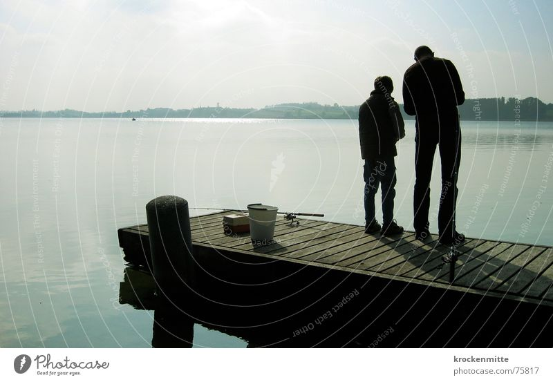 take your time Family & Relations Father Son To talk Lake Generation Footbridge Together Leisure and hobbies Fishing (Angle) Lure Calm Relaxation Interpretation
