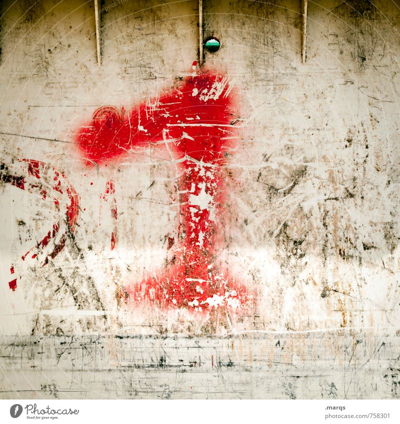 1 Wall (barrier) Wall (building) Plastic Digits and numbers Old Dirty Hideous Red White Decline First Age House number Colour photo Exterior shot Close-up