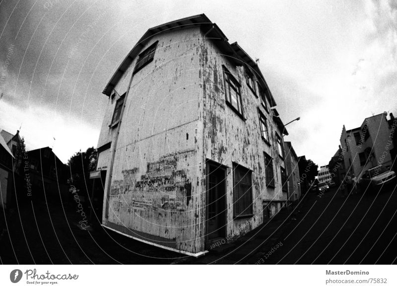 Corrugated iron, baby! House (Residential Structure) Corrugated sheet iron Clouds Dramatic Fisheye Poster Window Entrance Building Roof Analog Sky
