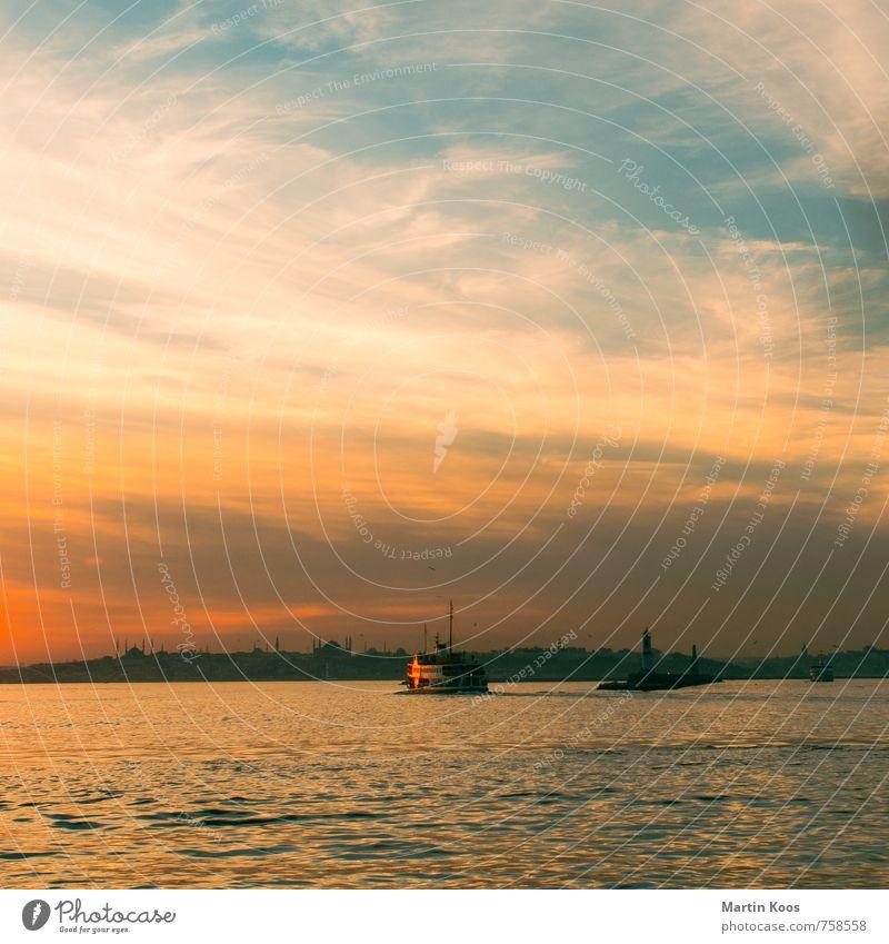 bosporus boat Sky Coast River bank Istanbul Town Downtown Skyline Tourist Attraction Landmark Means of transport Navigation Passenger ship Harbour Maritime