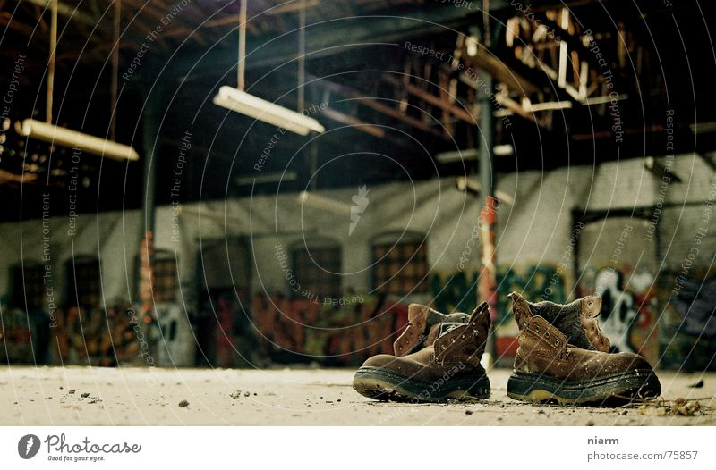 after work you shall rest Footwear Factory hall Loneliness Empty Decline Wall (building) Dust Unemployment Financial Crisis Development Poverty Leather shoes