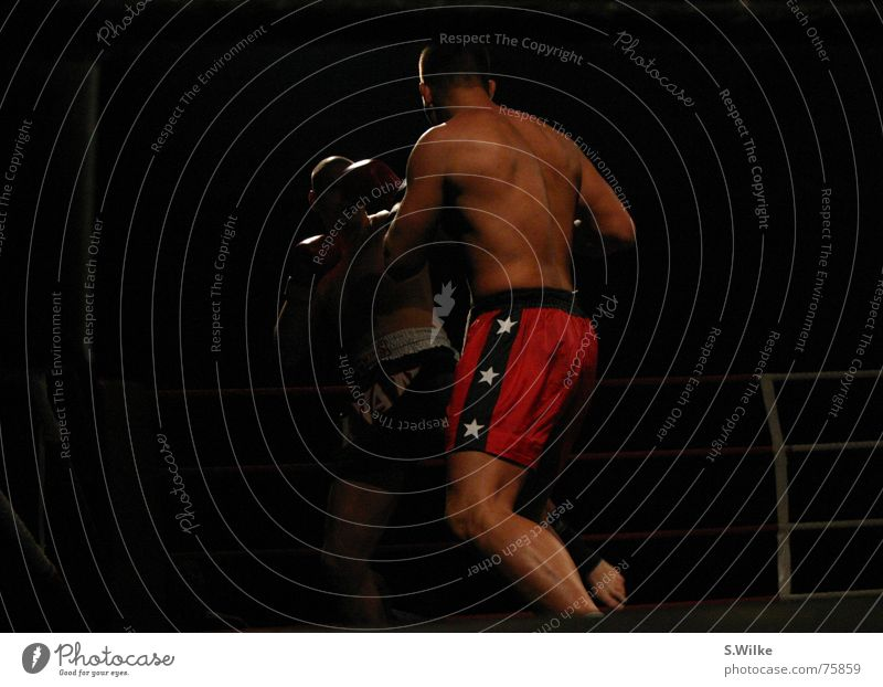 Man Red Dark Sports Back Skin Strong Loudspeaker Fight Musculature Reliability Calf Brutal Duel Kickboxing
