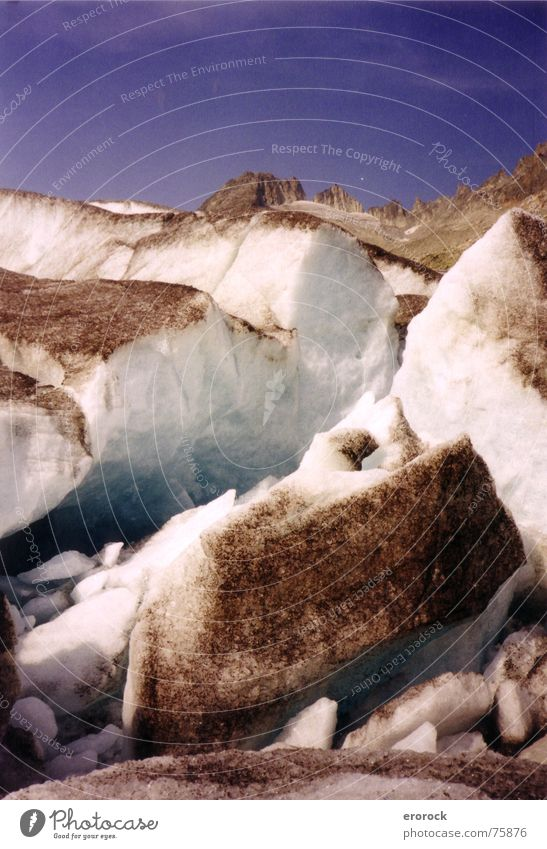 Blue Summer Cold Mountain Ice Hiking Switzerland Alps Analog Broken Glacier Rhone