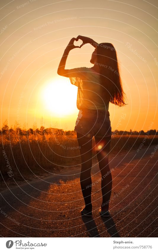 heart Feminine Young woman Youth (Young adults) Woman Adults 1 Human being Sky Cloudless sky Sun Sunrise Sunset Summer Beautiful weather Field Long-haired Sign