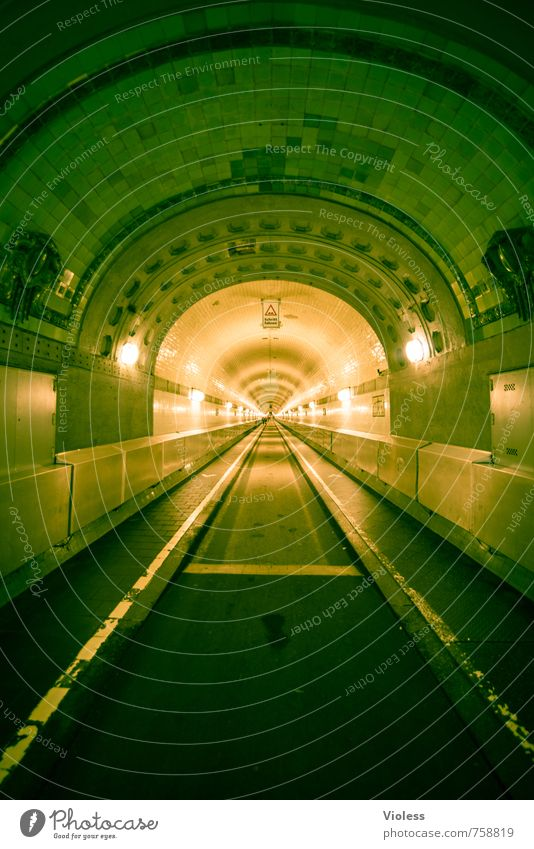timetunnel Port City Old town Harbour Tunnel Manmade structures Building Tourist Attraction Landmark Monument Famousness Historic Retro Elbtunnel Lighting
