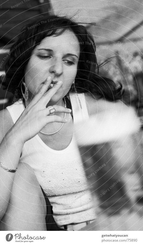 roken is doddelijk Woman Portrait photograph Upper body Beer Beverage Gastronomy Summer Cigarette Earnest Concentrate Beer garden Beautiful Looking