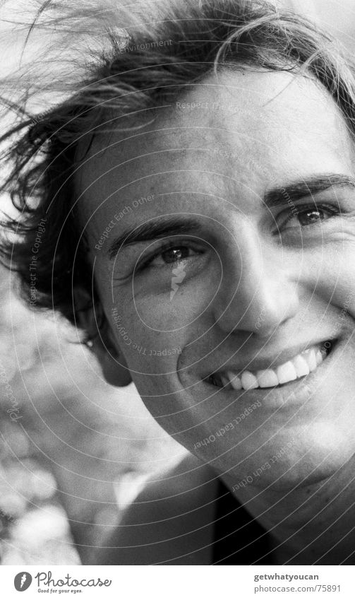 Man Beautiful White Summer Eyes Laughter Head Brown Portrait photograph Crazy Teeth Concentrate Human being